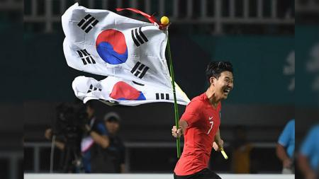 Pemain Korea Selatan U-23 Son Heung-Min di Asian Games 2018. - INDOSPORT