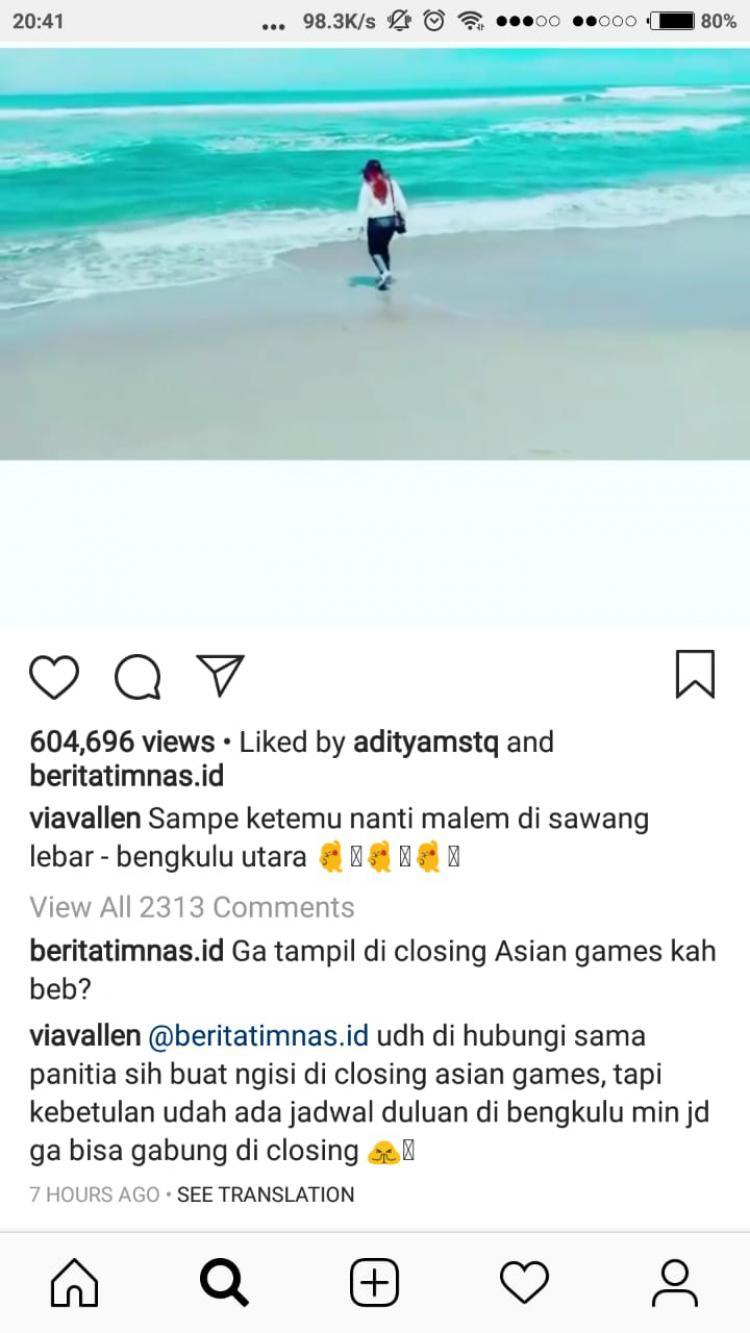 Via Vallen klarifikasi soal absennya ia di Closing Ceremony Asian Games 2018 Copyright: Instagram.com/viavallen