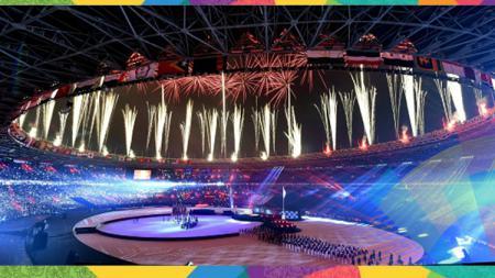 Kemeriahan kembang api di acara penutupan Asian Games 2018. - INDOSPORT