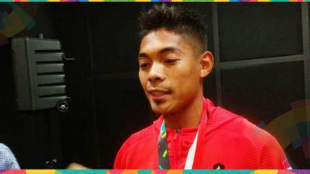 Bintang lari estafet 4x100 meter putra Indonesia, Muhammad Fadlin, sempat memandu yel-yel penambah semangat atlet muda jelang ajang ASEAN School Games 2019. - INDOSPORT