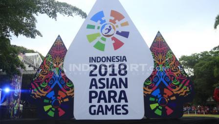 Logo Asian Para Gmaes 2018 di Balai Kota Surakarta.