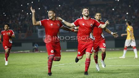 Selebrasi para pemain Persija usai cetak gol ke gawang Selangor FA. - INDOSPORT