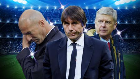 Kiri-kanan: Zinedine Zidane, Antonio Conte, Arsene Wenger. - INDOSPORT
