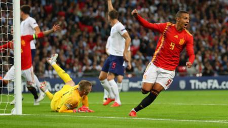Striker Valencia dan Timnas Spanyol, Rodrigo Moreno, dilaporkan mendapat tawaran menggiurkan dari salah satu klub Liga Inggris. - INDOSPORT