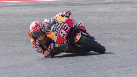 Pembalap Repsol Honda, Marc Marquez, baru saja menyelesaikan kualifikasi MotoGP San Marino 2021 pada Minggu (19/09/21) dan, mengaku membutuhkan trek basah. - INDOSPORT