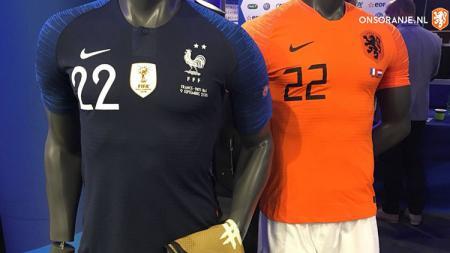 Jersey Timnas Prancis dan Belanda. - INDOSPORT