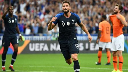 Olivier Giroud pasca mencetak gol untuk Timnas Prancis di UEFA Nations League. - INDOSPORT