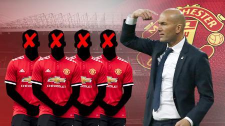Empat pemain Man United bakal dipecat Zinedine Zidane jika resmi melatih. - INDOSPORT