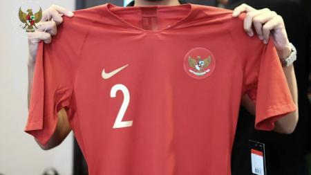 Jersey Timnas yang akan dipakai dalam laga Indonesia vs Mauritius. - INDOSPORT