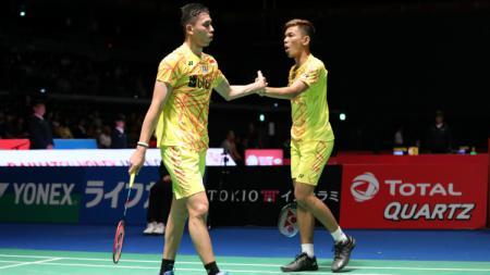 Fajar Alfian/Muhammad Rian Ardianto di babak pertama Japan Open 2018. - INDOSPORT
