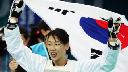 Atlet taekwondo Korea Selatan, Lee Ah-reum. - INDOSPORT