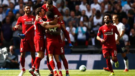 Selebrasi para pemain Liverpool saat pertandingan melawan Tottenham Hotspur, Sabtu (15/08/19). - INDOSPORT
