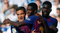 Indosport - Ousmane Dembele turut menyumbangkan gol kemenangan Barcelona saat berjumpa Real Sociedad.
