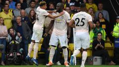 Indosport - Romelu Lukaku berselebrasi usai membuka keunggulan Man United atas Watford.