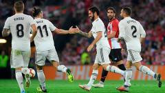 Indosport - Isco berselebrasi usai mencetak gol ke gawang Athletic Bilbao.