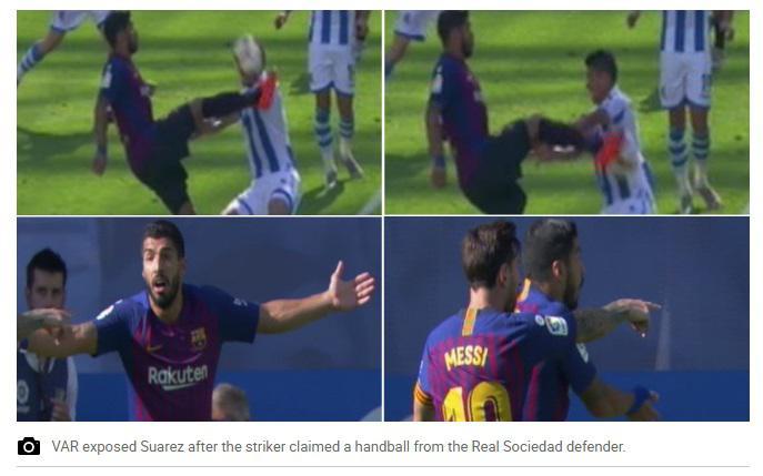 Luis Suarez jadi korban pertama VAR Copyright: Screenshoot/Marca