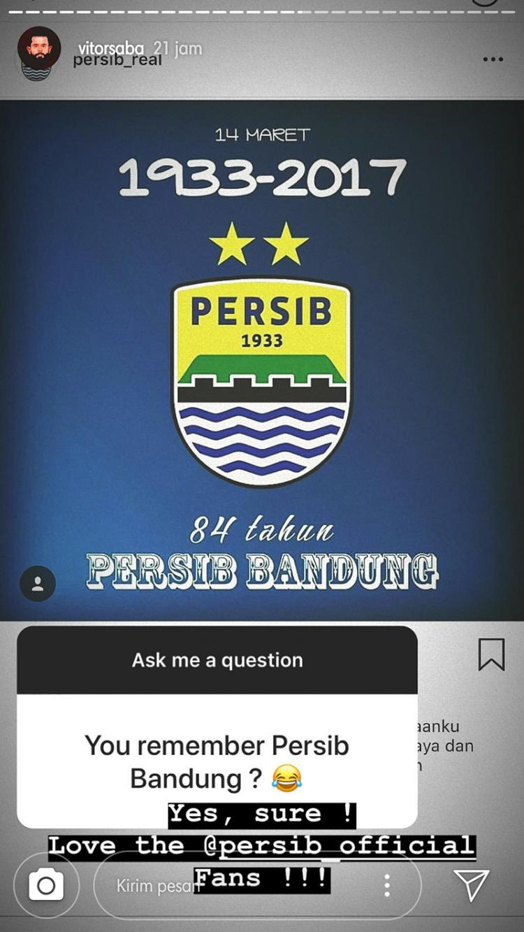 Vitor Saba kirim sinyal kepada Persib Bandung. Copyright: Instagram