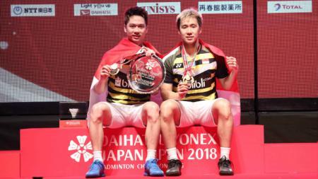 Kevin Sanjaya/Marcus Gideon juara di Japan Open 2018. - INDOSPORT