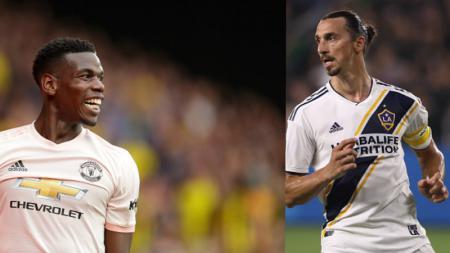 Gelandang serang Manchester United, Paul Pogba balas tantangan Zlatan Ibrahimovic dengan aksi yang tak kalah keren. - INDOSPORT