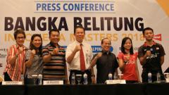 Indosport - Ihsan Maulana dan Fitriani ikut konferensi pers Indonesia Master 2018.