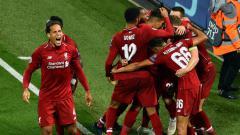 Indosport - Para pemain Liverpool ketika merayakan gol di lapangan.
