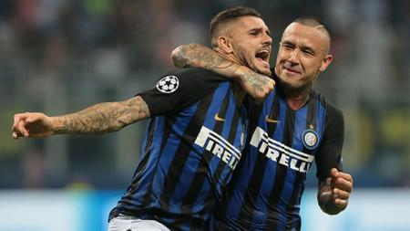 2 Selebrasi pemain Inter Milan, Mauro Icardi (kiri) dan Radja Nainggolan. - INDOSPORT