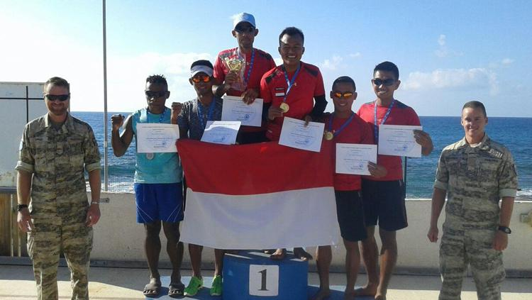 Pasukan Garuda Satgas Indobatt (Indonesian Battalion) berhasil mendapatkan gelar juara Triathlon di Libanon. Copyright: Badarudin Puspen TNI