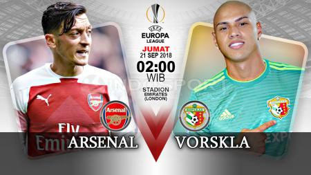 Laga Arsenal vs Vorskla akan tersaji di penyisihan Grup E Liga Europa 2018/19. - INDOSPORT