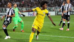 Indosport - Willian berselebrasi usai mencetak gol ke gawnag PAOK.