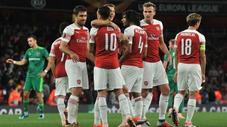 Selebrasi para pemain Arsenal. - INDOSPORT