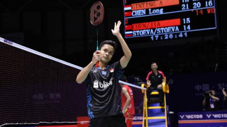 Anthony Sinisuka Ginting saat di China Open 2018. - INDOSPORT