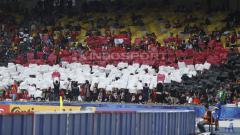 Indosport - Koreografi suporter Indonesia di Piala Asia U-16 2018.