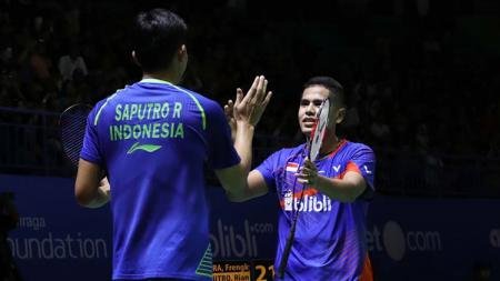 Pasangan ganda putra, Frengky Wijaya Putra/Rian Agung Saputro sukses merebut tiket semifinal Bangka Belitung Indonesia Masters 2018. - INDOSPORT