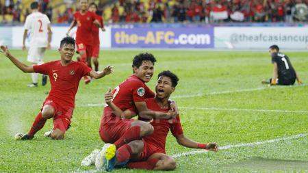 Aksi selebrasi Timnas Indonesia U-16. - INDOSPORT