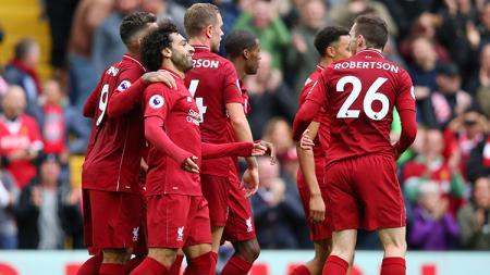 Mohamed Salah berselebrasi usai mencetak gol ke gawang Southampton. - INDOSPORT