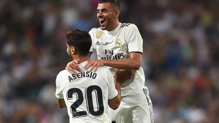 Marco Asensio berselebrasi usai mencetak gol ke gawang - INDOSPORT
