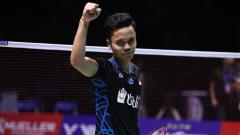 Indosport - Selebrasi Anthony Sinisuka Ginting usai juara China Open 2018.