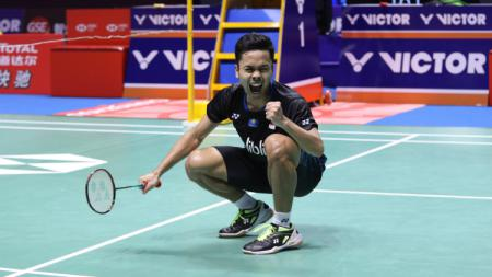 Selebrasi Anthony Sinisuka Ginting usai juara China Open 2018. - INDOSPORT
