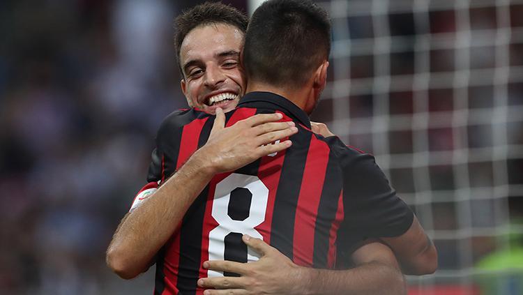 Bonaventura berselebrasi usai mencetak gol ke gawang Atalanta. Copyright: Getty Images