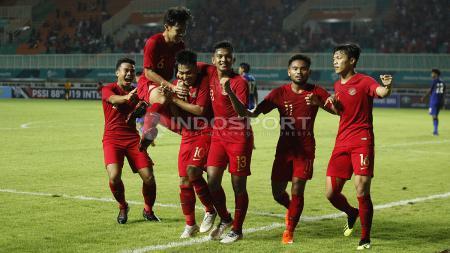 Selebrasi para pemain Timnas Indonesia U-19. - INDOSPORT