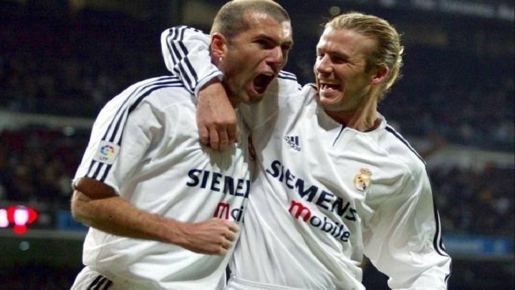 Beckham dan Zidane saat masih menjadi pemain Real Madrid Copyright: Sporx