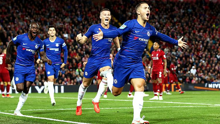 Selebrasi gol Eden Hazard Copyright: Getty Images