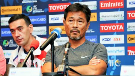 Pelatih Malaysia U-16, Lim Teong Kim saat di konferensi pers. - INDOSPORT