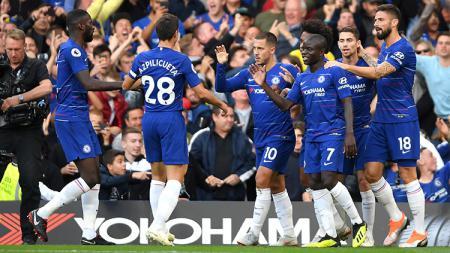 Selebrasi pemain Chelsea usai membobol gawang lawan. - INDOSPORT