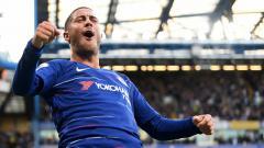 Indosport - Eden Hazard saat melakukan selebrasi setelah mencetak gol.