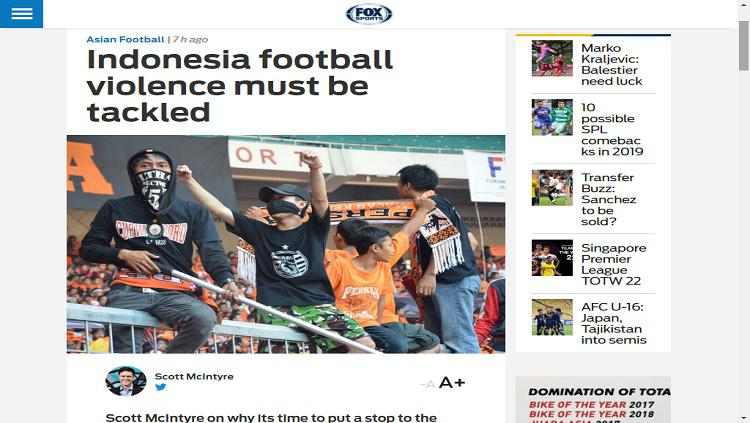 Fox Sport Asia soroti kekerasan sepak bola Indonesia Copyright: Fox Sport Asia