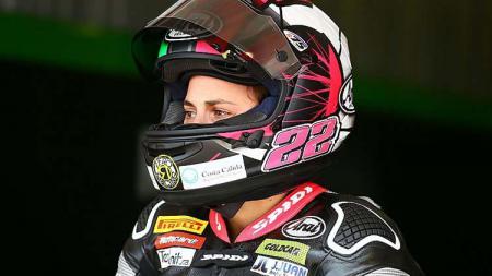 Ana Carrasco, asal Spanyol, wanita pertama yang menjuarai kejuaraan balap motor dunia. - INDOSPORT