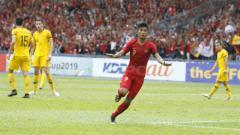 Indosport - Sutan Zico melakukan selebrasi usai cetak gol.