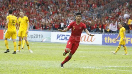 Sutan Zico melakukan selebrasi usai cetak gol saat memperkuat Timnas Indonesia U-16 di Piala Asia U-16 2018. - INDOSPORT