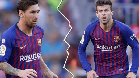 Lionel Messi dan Gerard Pique dikabarkan sedang tak akur karena saling kritik. - INDOSPORT